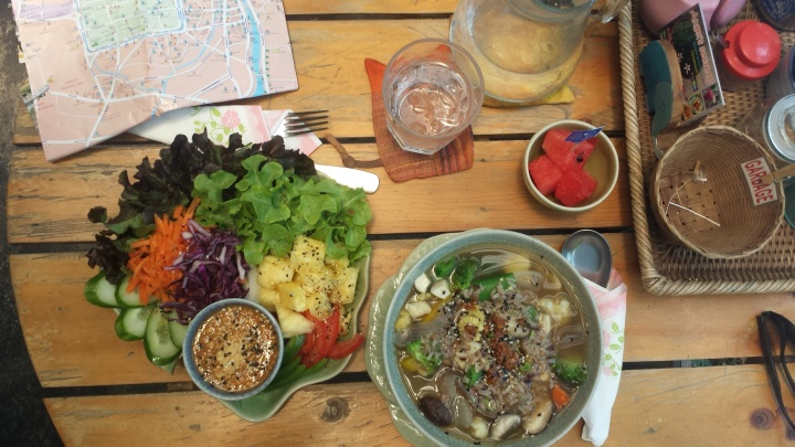 Porridge (they call it rice soup) and salad - nutrients galore!
