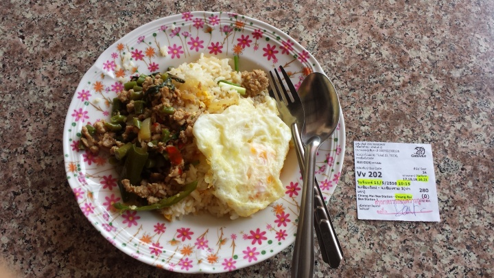 Fried rice, basil chicken, egg + my VIP bus ticket.