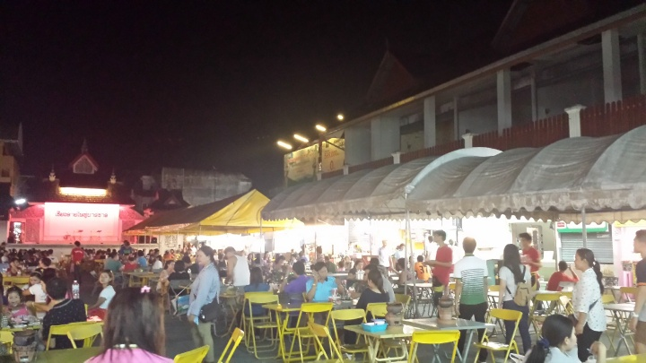 Open air food center at the night bazaar