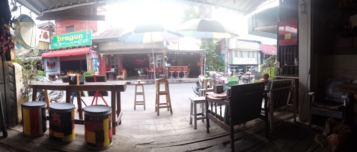 My view from inside the bar. It had a bit of a reggae touch.