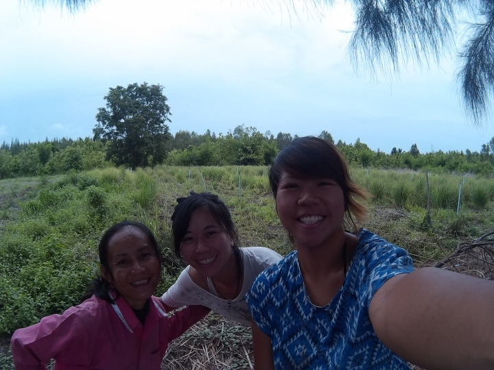 With Arnon's other sister, Jip*, and Ann after replanting lemongrass.