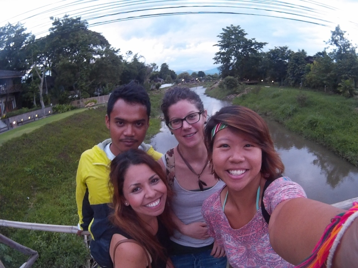 Cycled into town and chilled by the riverside. L to R: Keng, Marian, Claire, me.