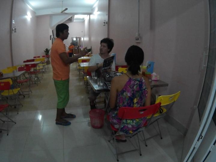 Dinner at a local place near their apartment.