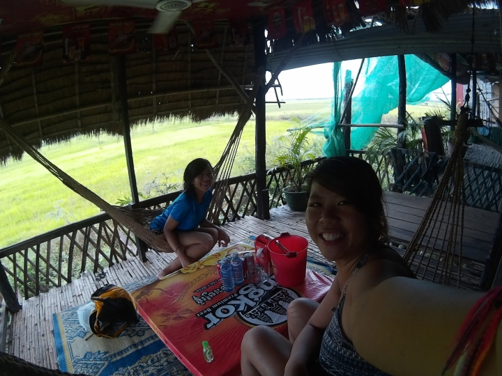 Late lunch break (2++pm) at a some hammock local restaurant. Gorgeous views of rice fields!