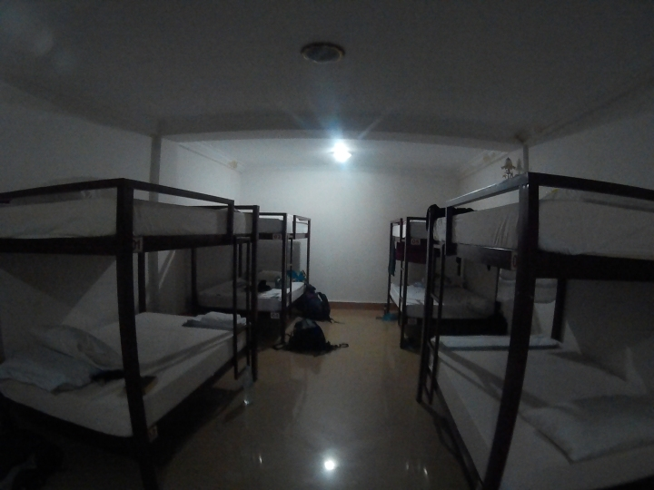8-bed mixed dorm. Nice and spacious! Loved that they had hot showers, provided towels and had air-con. All for USD5/night!