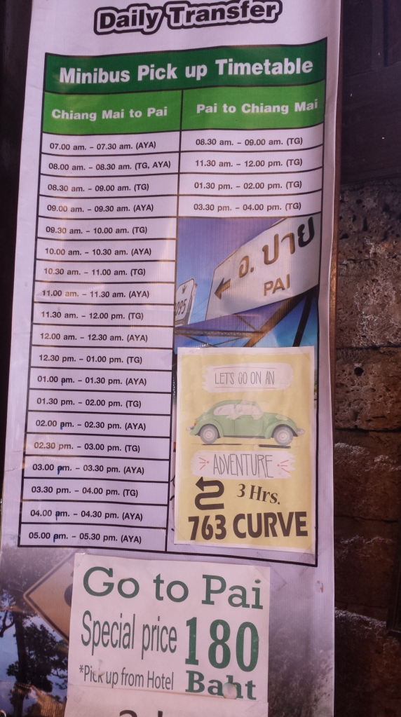 Timetable taken from the hostel. 180฿ for a trip.