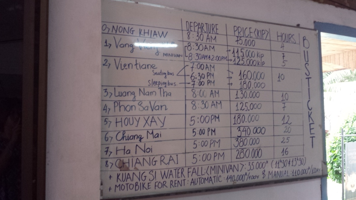 Prices/ travel times taken from a guesthouse in Luang Prabang, Laos.