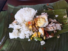 My own nasi campur - rice + other dishes.